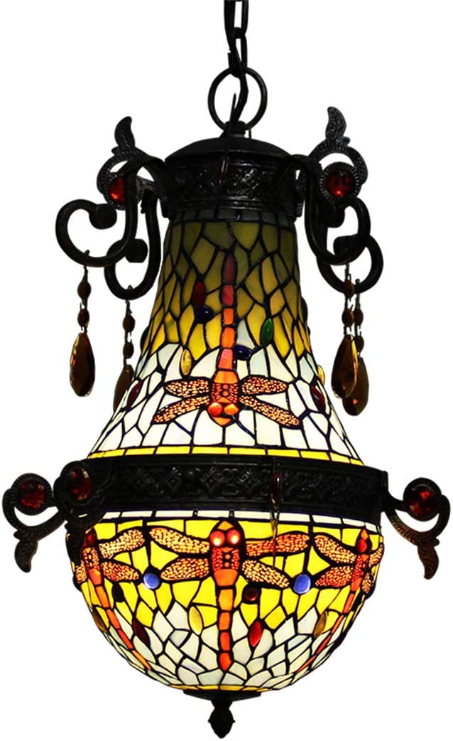 Makenier Vintage Tiffany Style Stained Glass Blue Dragonfly Pendant Lamp, 10 Inches Lampshade