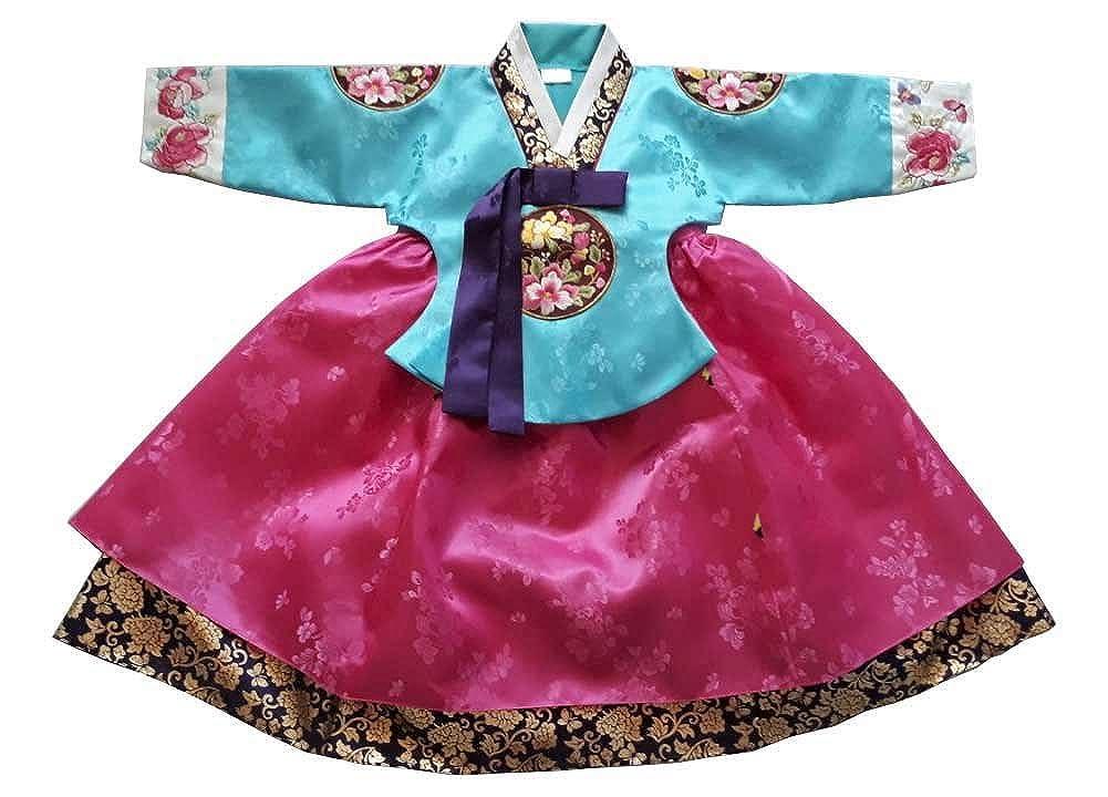 Hanbok 韓国 伝統的 Hanboks 赤ちゃん 女の子 ジュニア ドレス コスチューム 1-14歳 パーティーギフト hg300/2 4 ages  B07DHZSCDK