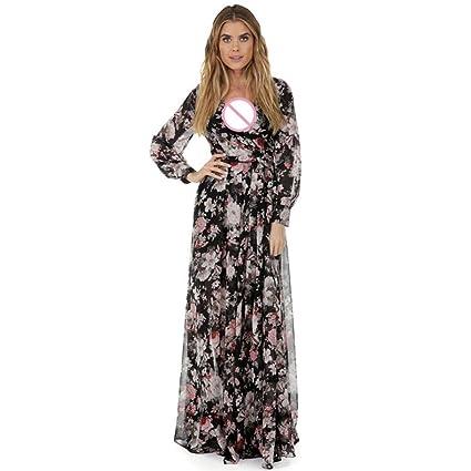 Impression Floral Col 3 V Robe Profond Soie En Manche De ToamenxxxlNoir Long Soirée Longue Femmes Mousseline Pour 31JcTKlF