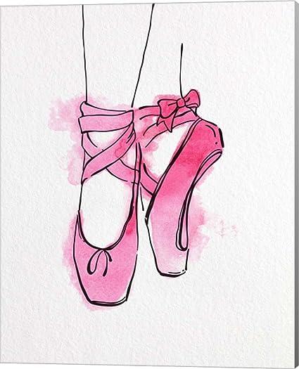 e50e9f600531 Amazon.com: Ballet Shoes En Pointe Pink Watercolor Part III by Color ...