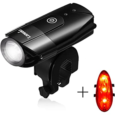 Loowoko - Juego de luces LED para bicicleta (2000 mAh/550 lúmenes, recargables por USB, 3 modos, impermeables, delanteras y traseras)