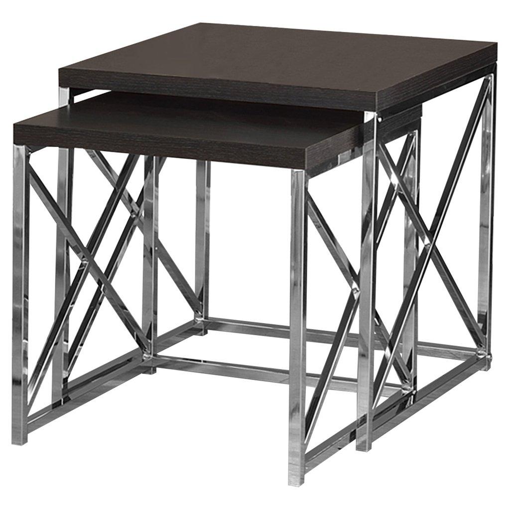 Monarch Specialties I 3255 2 pcs Nesting Table Dark Table Table Set Chrome Metal