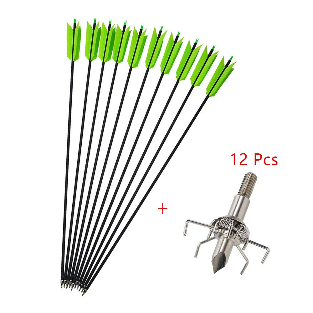 MILAEM 12 Pcs 30 Inch Archery Carbon Arrows Target Practice Flu Flu Arrows Small Game Arrows 4 Feathers Fletching with 100 Grain Judo Arrowheads for Practice Targeting (Green Set)