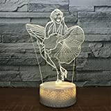 USB Powered Stunning Woman 3D Touch Optical ILLusion Night Light Crackle Paint Base 7 Colors Changing Beside Table Desk Deco Lamp Bedroom Nightlight Toy for Kids Gifts