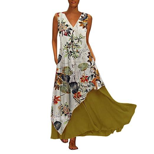 0fe55f1757 NANTE Top Sleeveless Maxi Dress Vintage V Neck Splicing Casual Dresses  Skirts Floral Printed Sundress Plus