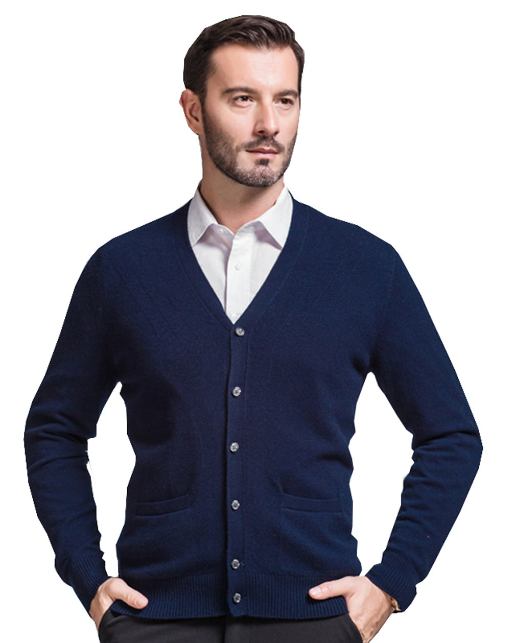 METERDE Men's Cashmere Button up Knit Cardigan with Pockets Deep Blue L