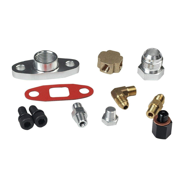 JIUAUTOPARTS for Honda T3//T4 Turbo Oil Return T3//T4//T04E Feed Line Complete Kit