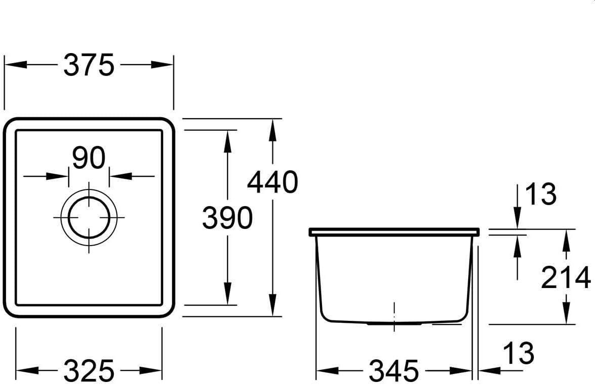 332402KD Fossil Grau Keramik Sp/ülbecken Unterbau Villeroy /& Boch Subway 45 SU
