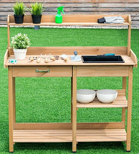 K&A Company Bench Potting Table Garden Planting Outdoor Wood Work Station Patio Storage Wooden Shelf Stand Plant Gardening Yard Top Workstation Shelves by K&A Company