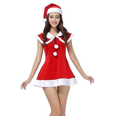 WanYang Estilo Lindo Mujeres Falda Roja Disfraz De Navidad Miss ...