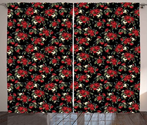 - Ambesonne Red and Black Curtains, Shabby Chic Garden Farm Flowers Leaves Roses and Violets Design, Living Room Bedroom Window Drapes 2 Panel Set, 108 W X 84 L Inches, Red Black Olive Green