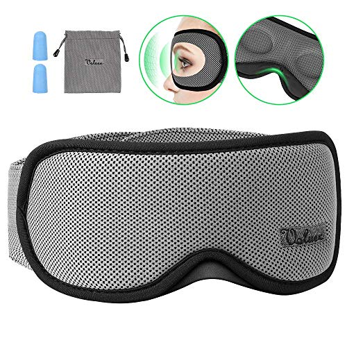 Sleep Mask, Voluex 3D Contoured Sleeping Eye Mask & Blindfold with Breathable Memory Foam for Men/Women/Kids, 100% Blockout Light Grey Eye Cover with Anti-Slip Adjustable Strap for Travel/Naps