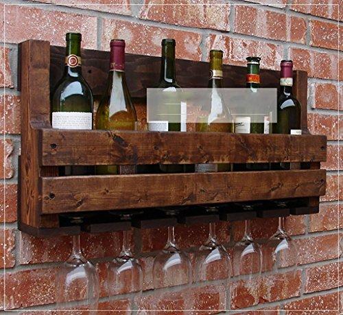 ZHAS Especieros de Madera Retro Creativo Estante de Vino de Pared Pared Estante de Vino Bar Restaurante Mural Rack Vino...