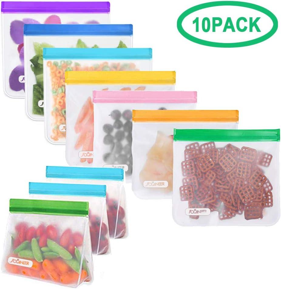 Bolsas de Almacenamiento de Alimentos Reutilizables, JOQINEER Bolsas Ziplock PEVA de Grado alimenticio de la FDA, a Prueba de Fugas y Frescas para bocadillos, Frutas, almuerzos, sándwiches (Set of 10)