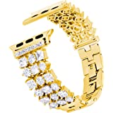 Falandi Stainless Steel Band Compatible for Apple Watch Band 40mm Series 4, Luxury Sparkling Bling Diamonds Replacement Bracelet for Women Girls iWatch 38mm Series 3/2/ 1 (Gold, 40/38 mm)