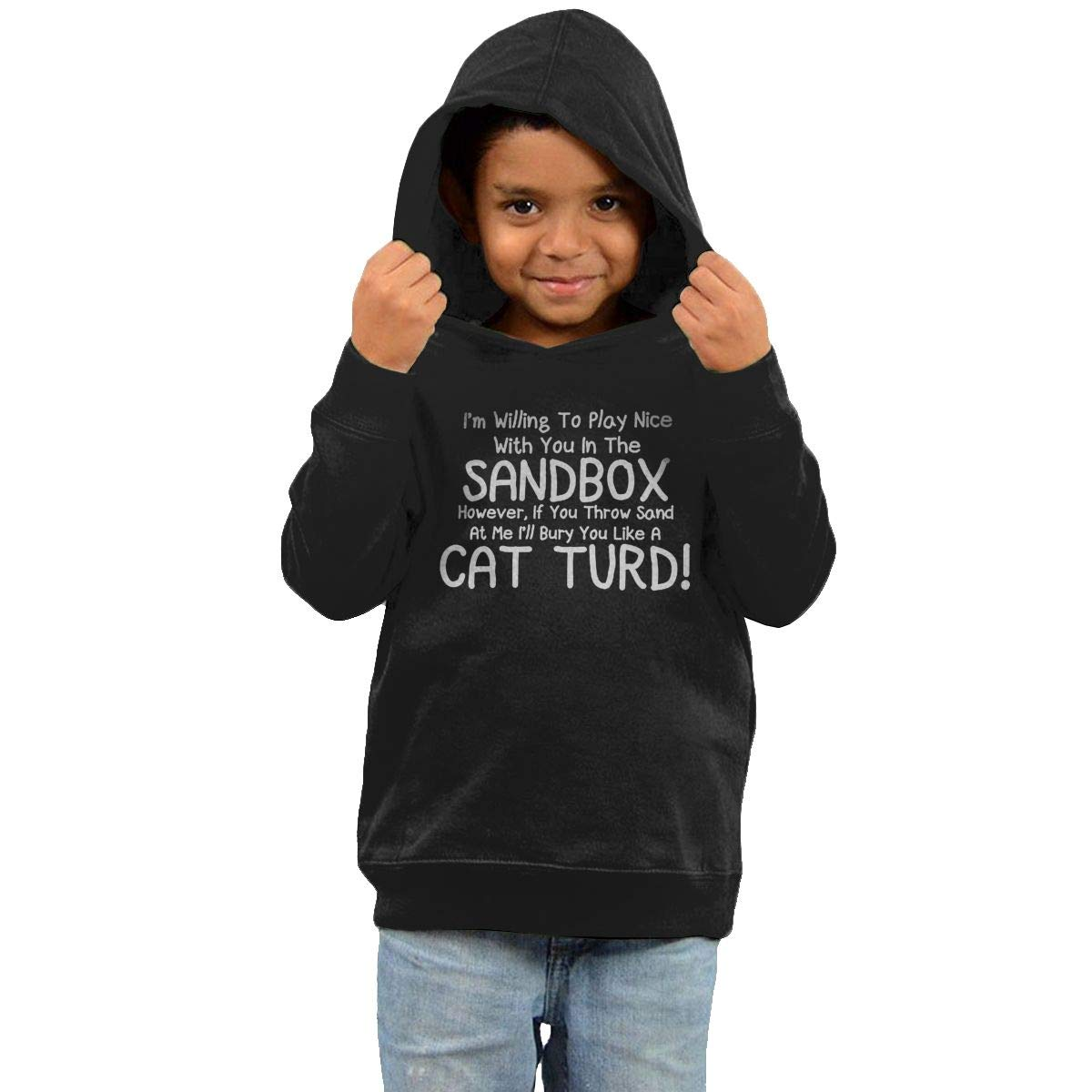 Childrens Hooded Sweater Im Willing to Play Nice with You in The Sandbox Children Sweater Black