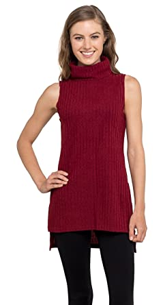 c3f9792143 Velucci Womens Turtleneck Tunic Tank Top - Sleeveless Ribbed Sweater,  (Burgundy S)