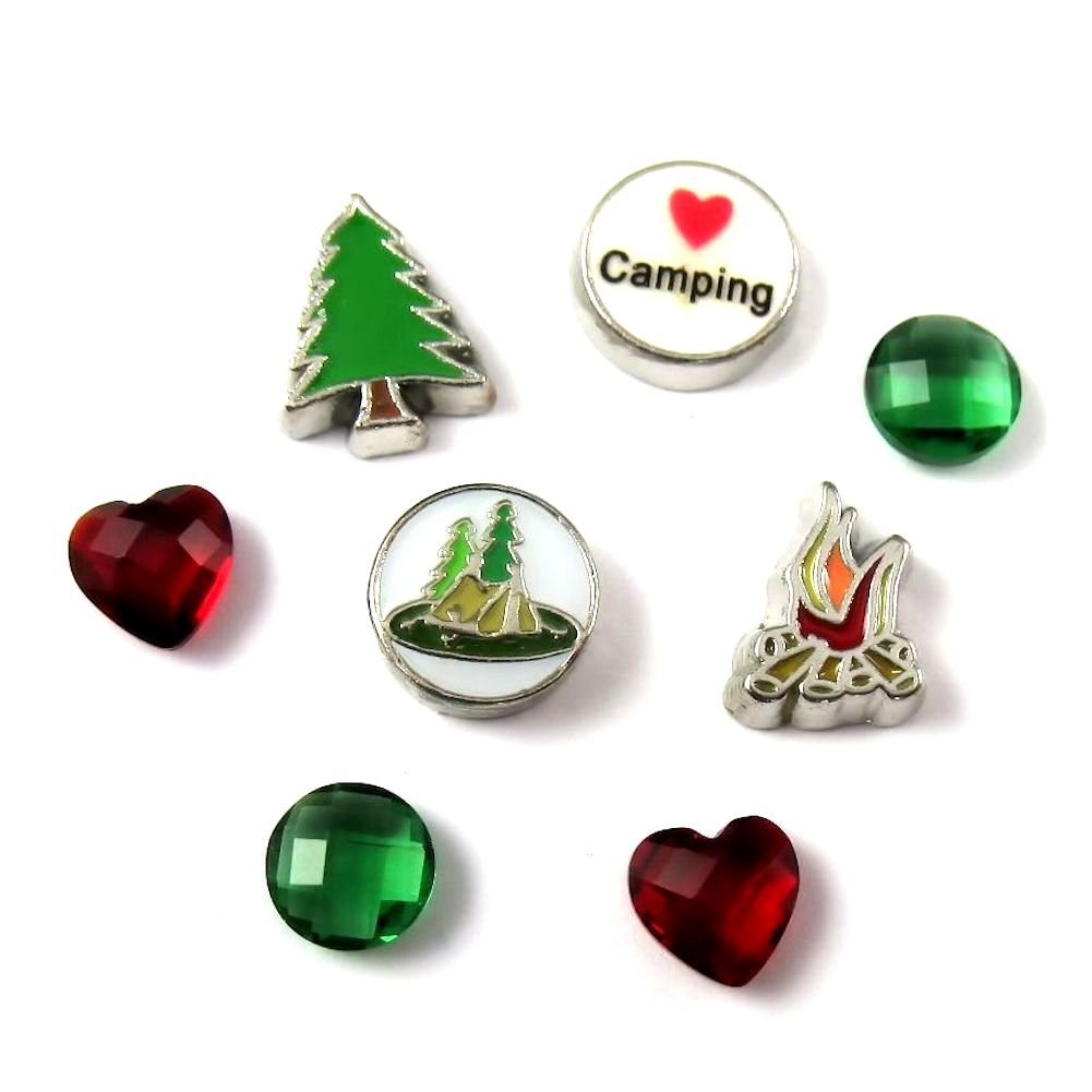 FCL Designs Love Camping Theme Floating Charms Combination for Lockets