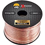 100Ft Premium Copper Speaker Wire - 14 Gauge Stranded Pure Copper Core Heavy Duty Audio Wire | Not CCA (Copper Clad Aluminum) by eXtreme Consumer Products