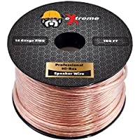 eXtreme Speaker Wire - 100 Feet - 14 Gauge Stranded Copper Core - Clear Jacket with Polarity Stripe - by eXtreme Consumer Products