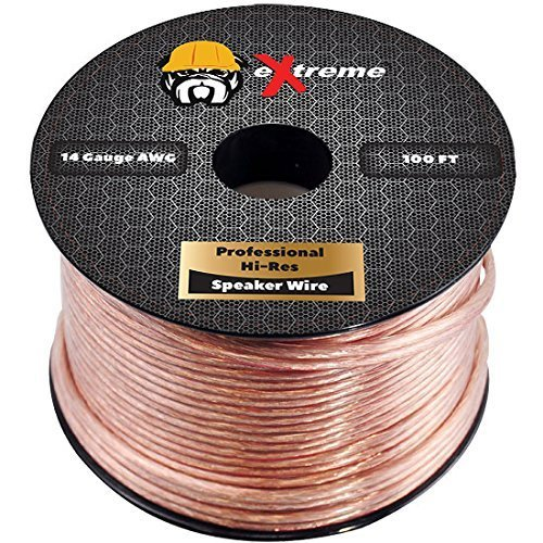 100 Feet 14 Gauge Pure Copper Core Extreme Speaker Wire, Not CCA (Copper Clad Aluminum) for Optimal Audio Performance | Stranded Core and Polarity Stripe