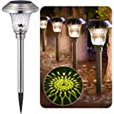 BEAU JARDIN 4 Pack Solar Lights Pathway Outdoor Garden Path Glass Stainless Steel Waterproof Auto On/off Bright White Wireles