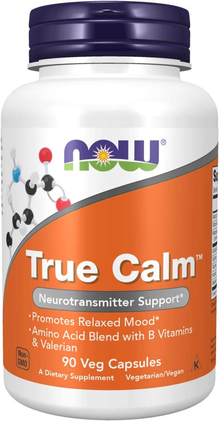 NOW Supplements, True Calm, Amino Acid blend with B Vitamins & Valerian , 90 Veg Capsules: Health & Personal Care