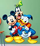pk Mickey Mouse, Donald Duck and Goofy All Disney Group Cartoons 3D Wall Sticker (Vinyl, Multicolour)