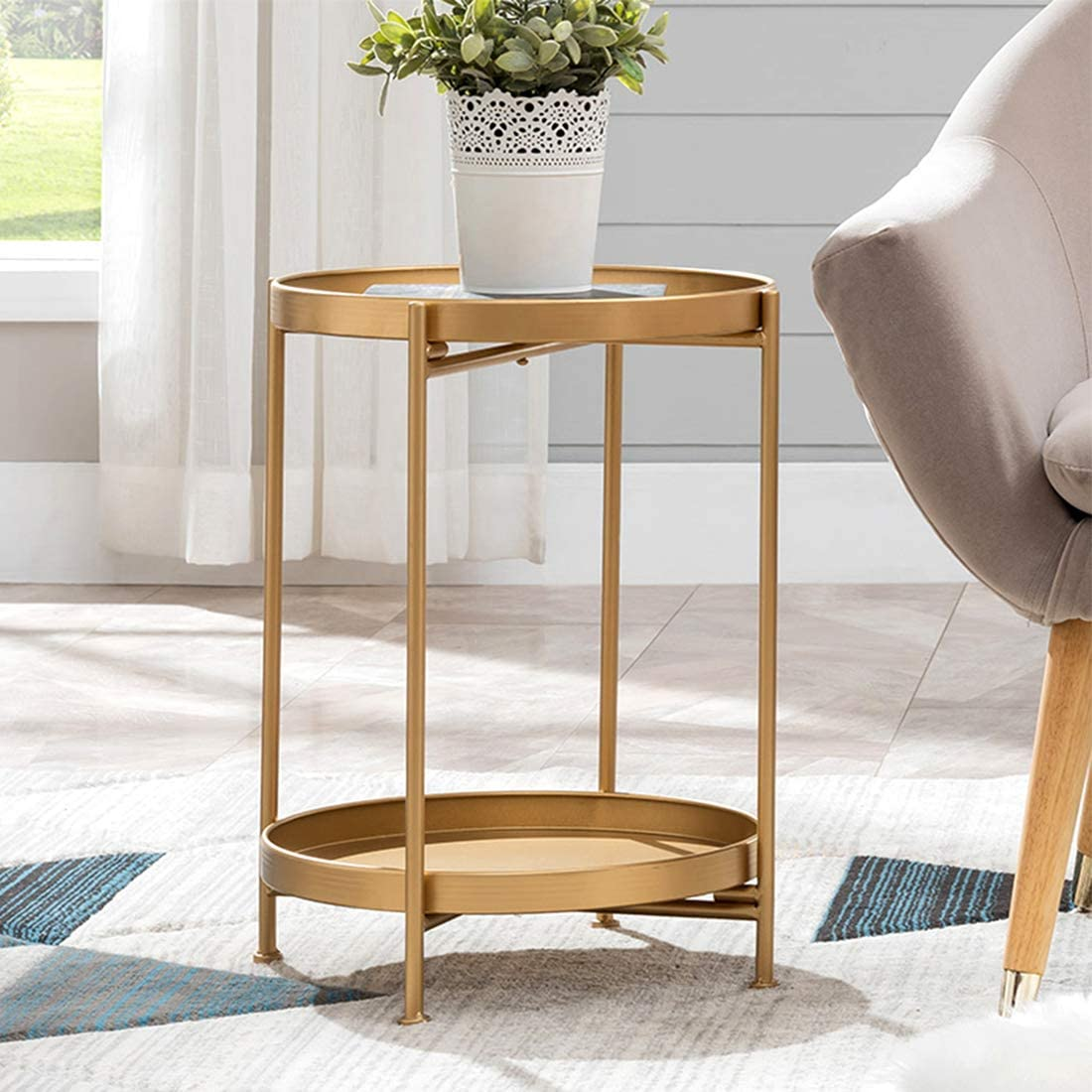 """Small Round Table Metal Tray Side Table with Storage Gold Modern Nightstand  for Living Room Bedroom10""""Dx10""""H"""