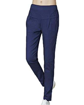 6015e0a66c50 Printemps Eté Femme Elégante Mode Pantalons avec Poches Uni Manche Taille  Élastique Confortable Slim Fit Basic