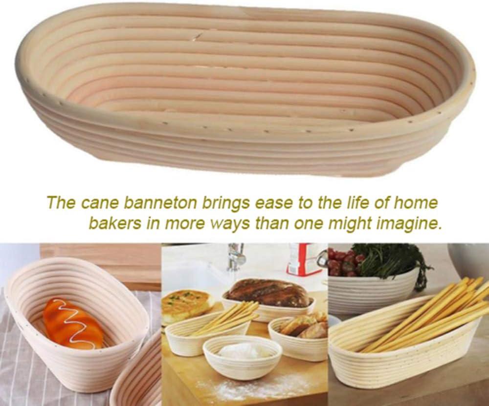 4 Pack Bread Proofing Basket Natural Rattan Sourdough Proving Basket Rattan Banneton Brotform Bread Proofing Proving Basket with Linen Liner Banneton Proving Baskets 4 Different Sizes Oval
