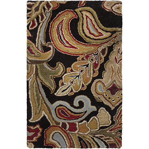 Surya Aurora AUR-1002 Classic Hand Tufted 100% Wool Jet Black 5' x 8' Paisleys and Damasks Area Rug ()