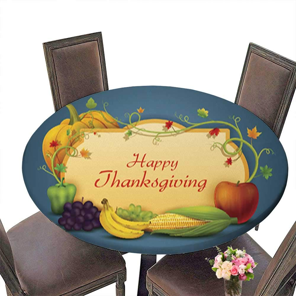 Spillproof Fabric Round Tablecloth,Happy Thanksgiving Wallpaper Background Kitchen Decoration Washable up to 31.5''-33.5'' Diameter