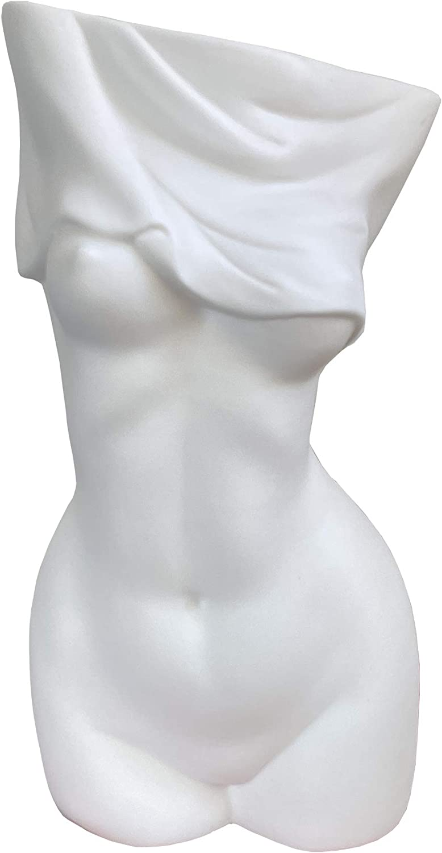 Feminine Body Vases, Feminine Curve Vases,Unique Undressing Look,Decorative Vases, Creative Floral Vases, Ceramic Vases for Modern Bohemian Home Decoration, (Birthday Gifts, (White)
