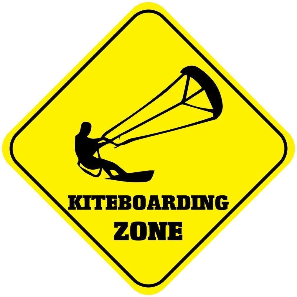 AdriK Lustiges Metallschild mit Kiteboarding Zone Crossing