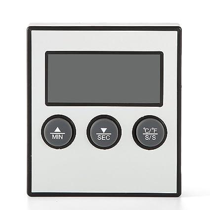 Fdit Termómetro Digital Electrónica de Cocina Reloj Temporizador de Alarma con Pincho Temperatura de Lectura Instantánea