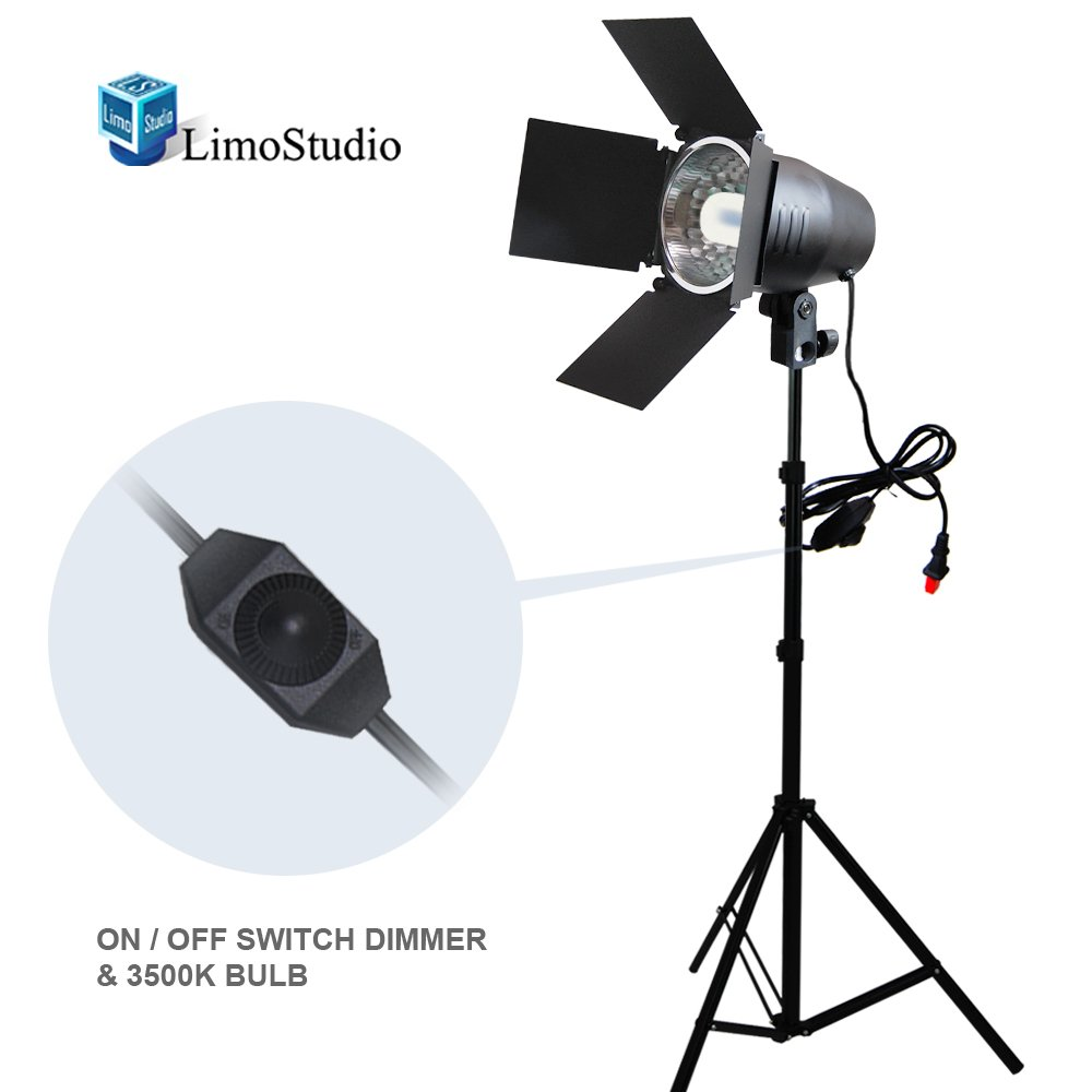 LimoStudio 150W Continuous Barndoor Lighting Stand Kit with Dimmer Switch Photography Photo Studio, AGG1798