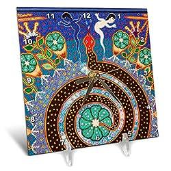 3dRose dc_92754_1 Folk Art, Huichol Art, Santa Fe, New Mexico US32 JMR1118 Julien McRoberts Desk Clock, 6 by 6