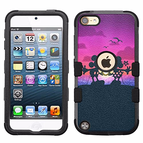 for iPod Touch 5/6, Hard+Rubber Dual Layer Hybrid Heavy-Duty Rugged Armor Cover Case - Mickey Mouse Minnie Mouse - 5 Ipod Minnie Mouse Case For