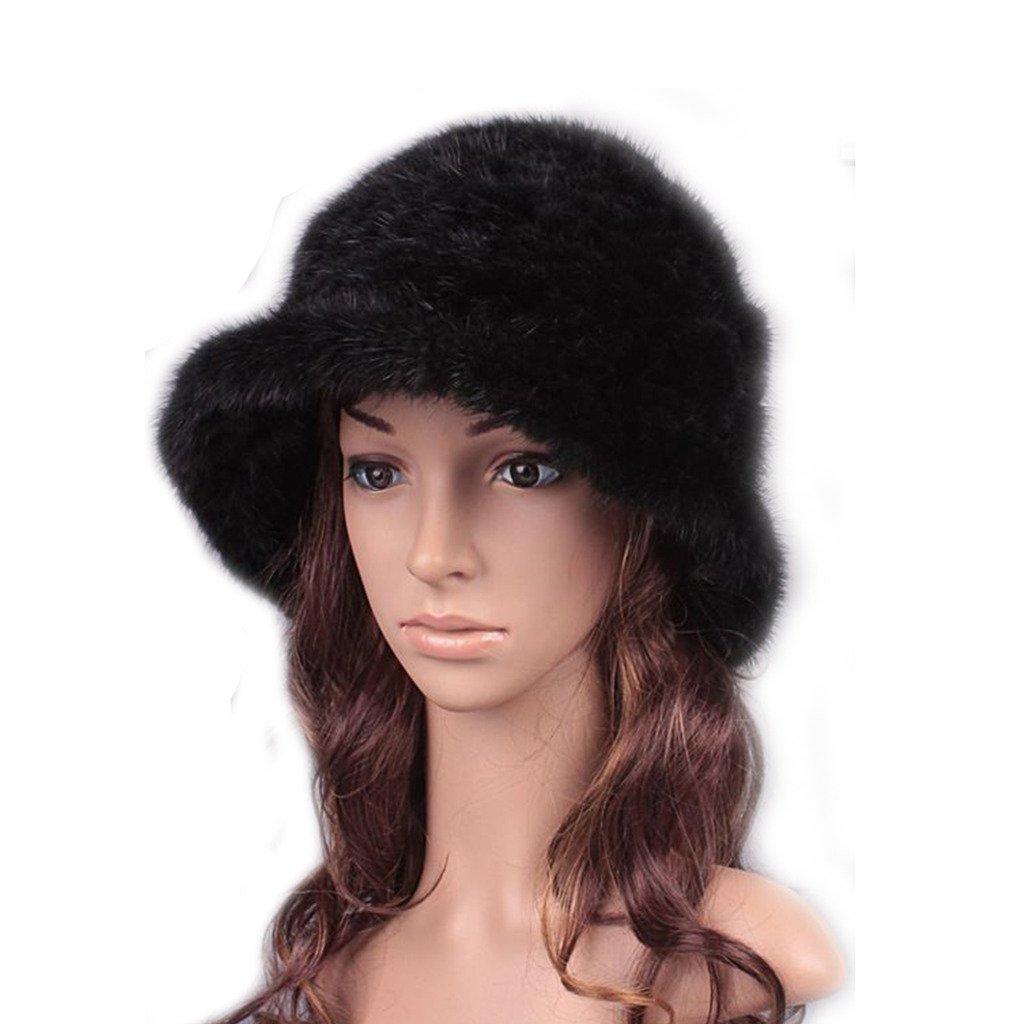 UK.GREIFF Women's Trendy Warm Stretch Mink Fur Winter Hat Cap Black