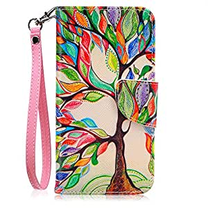 Galaxy S7 Case, JanCalm [Wrist Strap][Kickstand][Card/Cash Slots] Pattern Premium PU Leather Wallet Case,Credit Card Holder,Flip Cover for Samsung Galaxy S7 + ONE Crystal Pen (Beautiful tree)