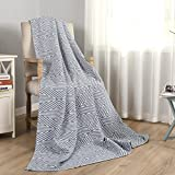 Joywell Cotton Blanket Solid Color Super Soft and Warm for Bed All Seasons Luxury Fuzzy (Gray-Blue, Throw)