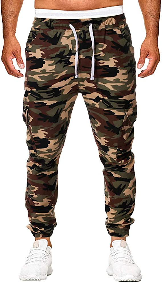 Mens Cargo Pants Drawstring Jogger Running Pants Slim Fit Elastic Waist Stretch Chino Trousers