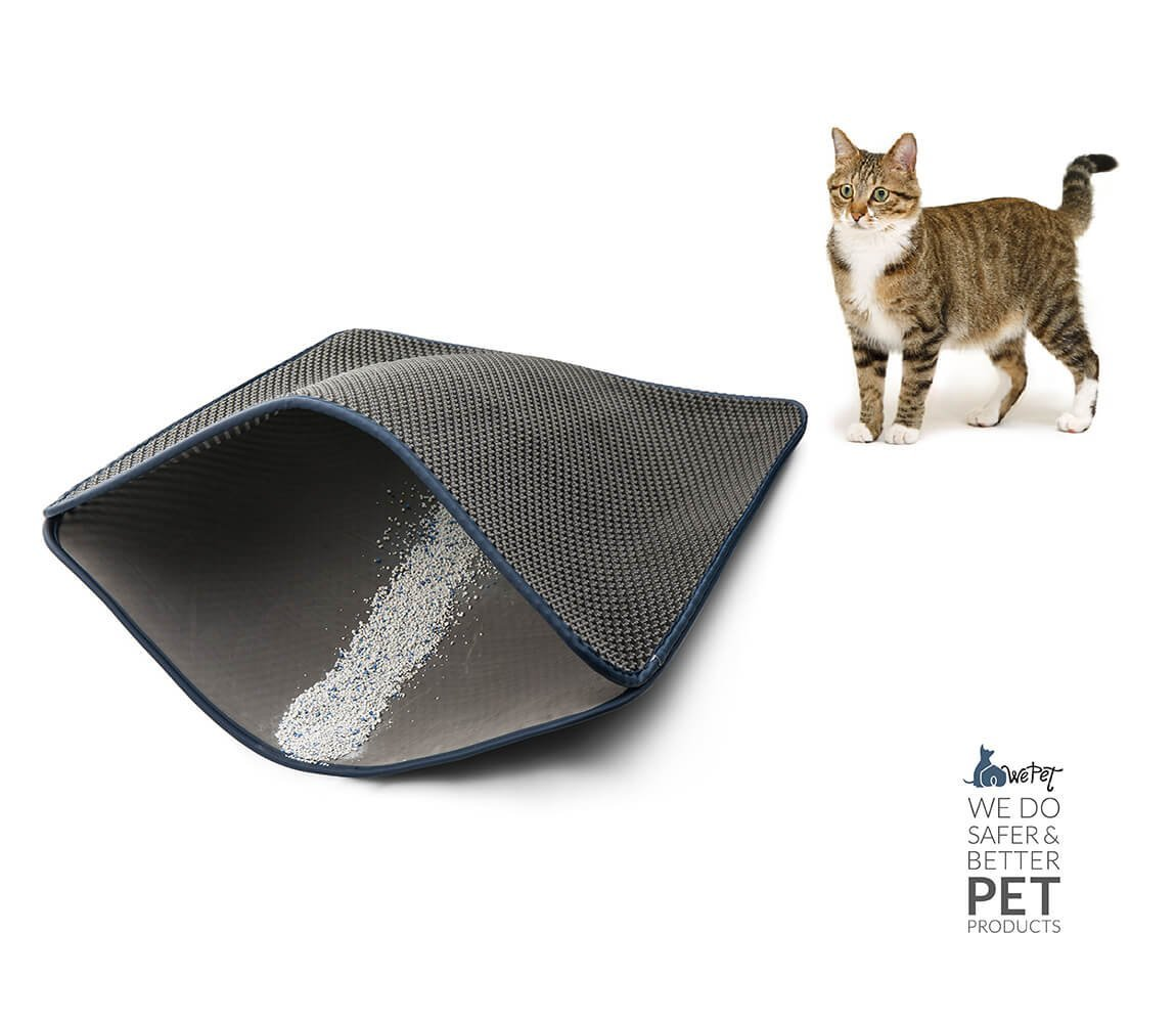 WePet 2-Layer Honeycomb Large Cat Litter Mat Premium Kitty Box Trapping Sifting Pads Waterproof Urine Repellent Scatter Activity Play Scratching/Nap to Keep Floor Corner Carpet clean Best for Grumpy