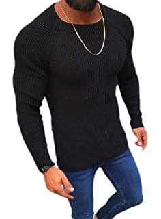 Fubotevic Mens Pullover Round Neck Knitted Long Sleeve Slim Fit Print Sweater