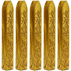 Mchoice 5PCS Vintage Manuscript Sealing Seal Wax Sticks Wicks for Postage Letter (Gold)