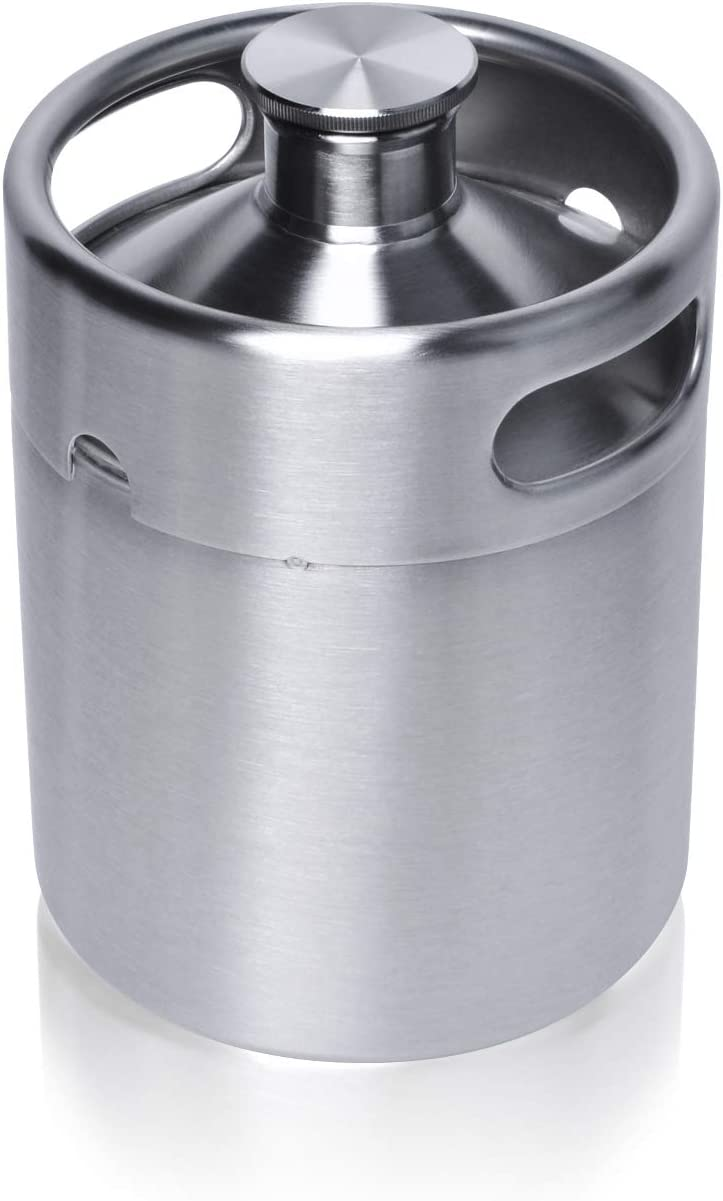 Mini Keg Growler, Pressurized Growler 64 OZ 304 Stainless Steel Mini Keg with Seal knob Cover for Home kitchen Brewing Beer(2L)