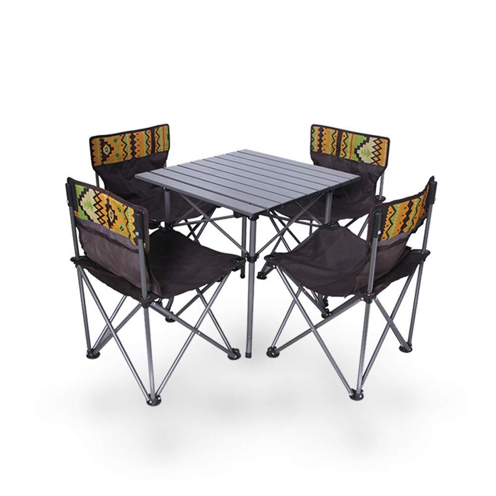 Folding chair Tragbarer Klapptisch und Stuhlkombination, praktisches Camping, Gartentisch und Stuhl, 4X Klappstuhl, 1X Tisch