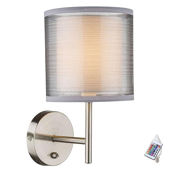 Wand Leuchte Esszimmer Stoff Lampe Grau Schalter Dimmer Im Set