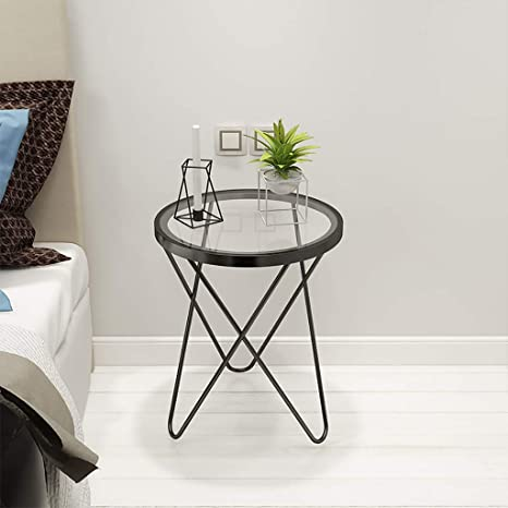 Amazon.com: Round Nesting Tables Metal and Glass Side Tables ...